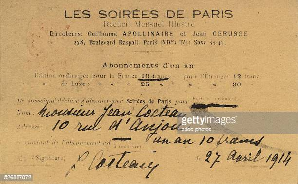 Subscription to the magazine directed by Guillaume Apollinaire 'Les Soir��es de Paris' sent by Jean Cocteau In April 1914