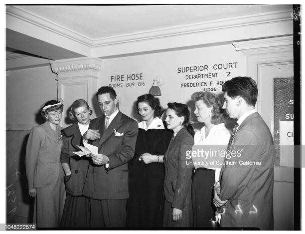 Subsidy marriage contest divorce 23 May 1952 Mrs Ingrid Clever 35 years Mrs Stina Jakobson 26 years Maurice Aucher 29 years Miss Marguerite Wilhite...