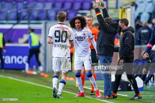 Subsitution Club Brugge, Charles De Ketelaere of Club Brugge, Tahith Chong of Club Brugge during the Jupiler Pro League match between RSC Anderlecht...