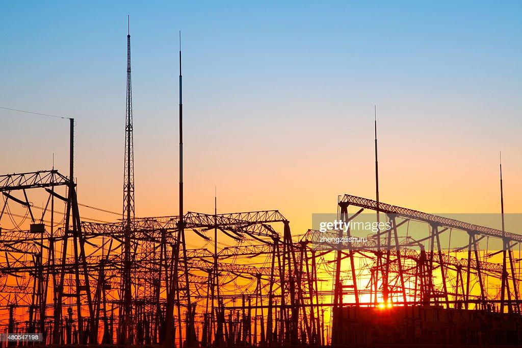 Substation silhouette : Stock Photo
