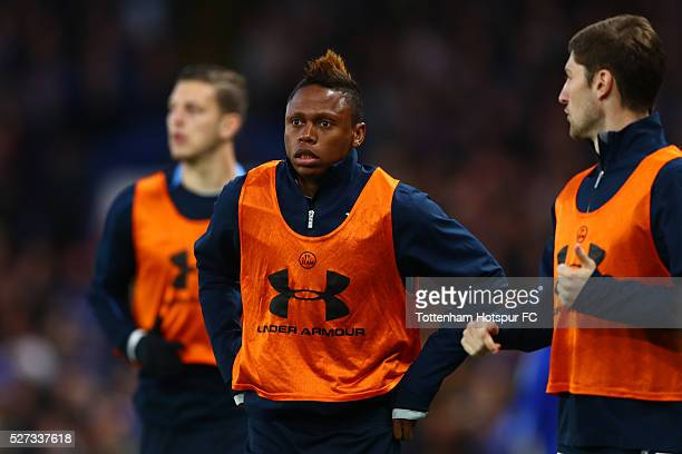 Substitute Clinton N'Jie of Tottenham Hotspur warms up during the Barclays Premier League match between Chelsea and Tottenham Hotspur at Stamford...