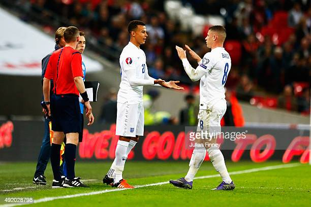 Substitute Dele Alli of England replaces Ross Barkley of England during the UEFA EURO 2016 Group E qualifying match between England and Estonia at...