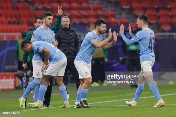 Substitute, Ferran Torres of Manchester City replaces team mate Gabriel Jesus and Substitute, Sergio Aguero of Manchester City replaces team mate...