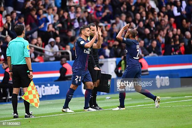 Substitute Hatem Ben Arfa of PSG replaces Lucas Moura of PSG during the French Ligue 1 match between Paris SaintGermain and FC Girondins de Bordeaux...