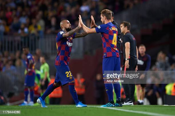 Substitute Ivan Rakitic of FC Barcelona replaces Arturo Vidal of FC Barcelona is substitu during the Liga match between FC Barcelona and Sevilla FC...