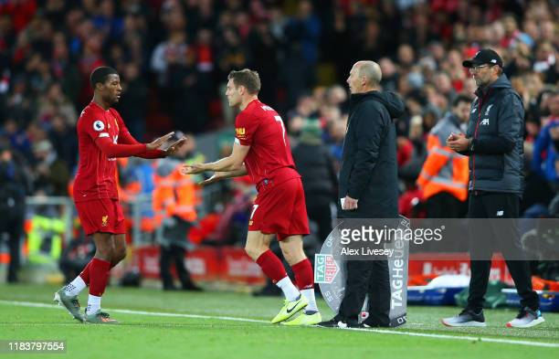 Substitute James Milner of Liverpool replaces Georginio Wijnaldum as Jurgen Klopp, Manager of Liverpool looks on during the Premier League match...