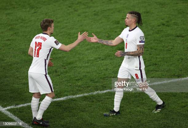 Substitute, James Ward-Prowse of England replaces team mate Kalvin Phillips during the FIFA World Cup 2022 Qatar qualifying match between Albania and...