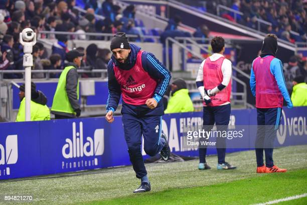 Substitute Konstantinos Mitroglou of Marseille warms up during the Ligue 1 match between Olympique Lyonnais and Olympique Marseille at Parc Olympique...