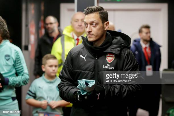 Substitute Mesut Ozil of Arsenal in the tunnel before the Premier League match between AFC Bournemouth and Arsenal FC at Vitality Stadium on November...