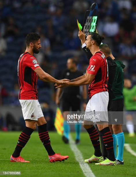 Substitute Oliver Giroud of AC Milan comes on for Zlatan Ibrahimovic of AC Milan during the UEFA Champions League group B match between FC Porto and...