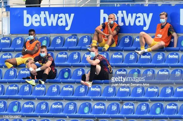 Substitute players of FC Barcelona Nelson Semedo, Arnau Tenas, Marc-Andre Ter Stegen, Martin Braithwaite and Frenkie De Jong sits in the stands...