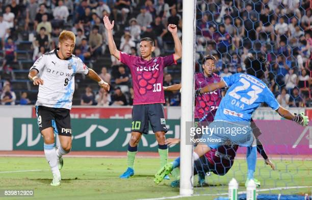 Substitute Takayuki Morimoto of Kawasaki Frontale nets an equalizer in the 90th minute to rescue a 22 draw with Ventforet Kofu in a JLeague first...