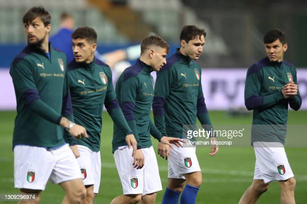 Substitutes Francesco Acerbi, Giovanni Di Lorenzo, Nicolo Barella, Federico Chiesa and Matteo Pessina of Italy leave the field of play following the...
