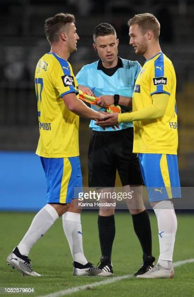 Substitutes Julian GuentherSchmidt and Felix Bruegmann of Jena during the third Liga match between FC Carl Zeiss Jena and VfR Aalen at...