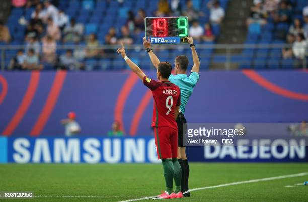 A substitution for Portugal is made during the FIFA U20 World Cup Korea Republic 2017 Quarter Final match between Portugal and Uruguay at Daejeon...