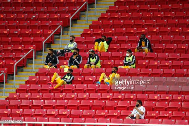 Subtitute players of Tigres UANL watch the game from the stands keeping distance as part of the COVID 19 protocol during the match between Chivas and...