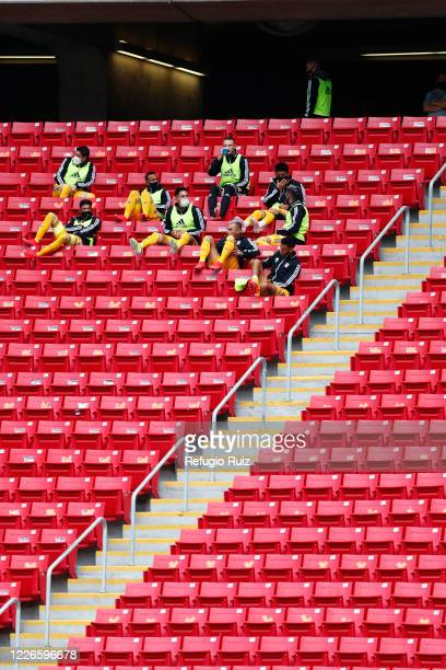 Subtitute players of Tigres UANL watch the game from the stands keeping distance as part of the COVID 19 protocol during Atlas and Tigres UANL as...