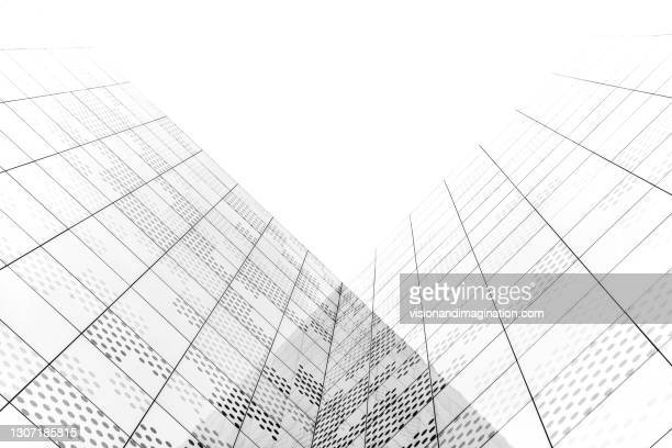 subtle lines in glass facade - mid section stock pictures, royalty-free photos & images
