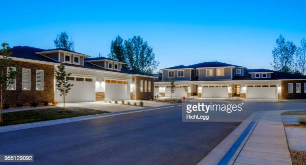 suburb houses at dusk - street stock pictures, royalty-free photos & images