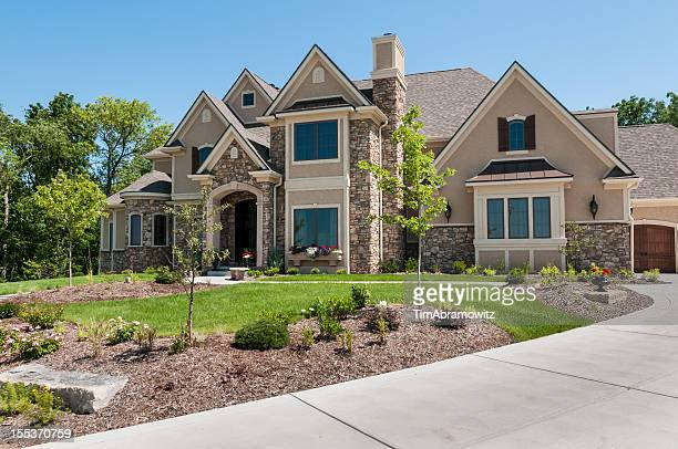suburban home exterior - beautiful house stock photos and pictures