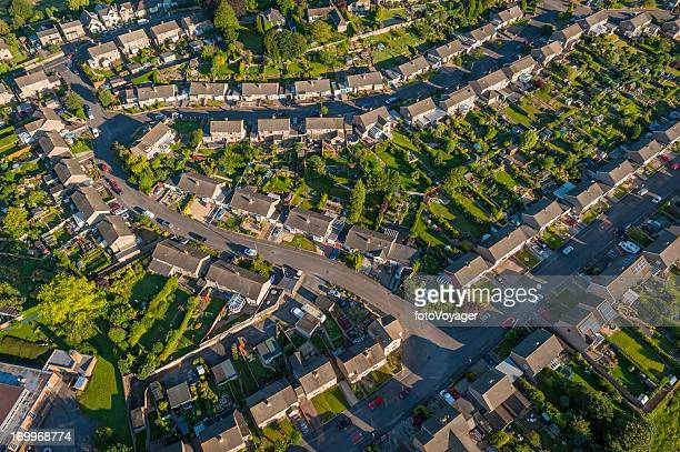 Suburban homes and gardens aerial photo