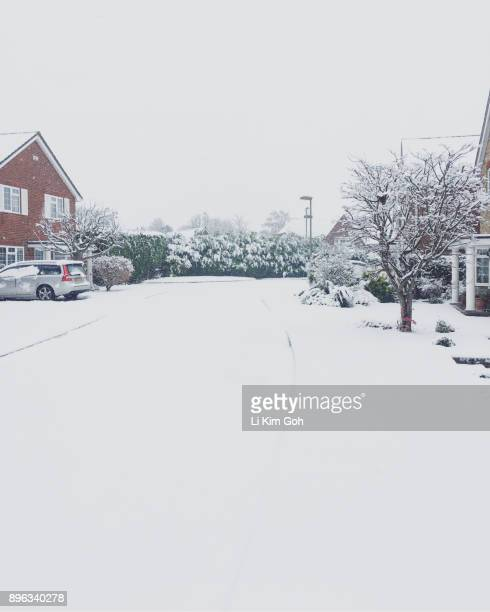 Suburban homes in Wantage on a snow day, Oxfordshire, England
