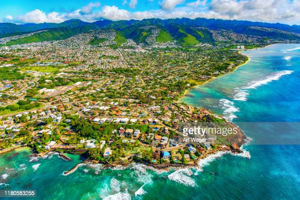 suburban honolulu from above - oahu stock pictures, royalty-free photos & images