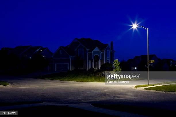 Suburban houses at night