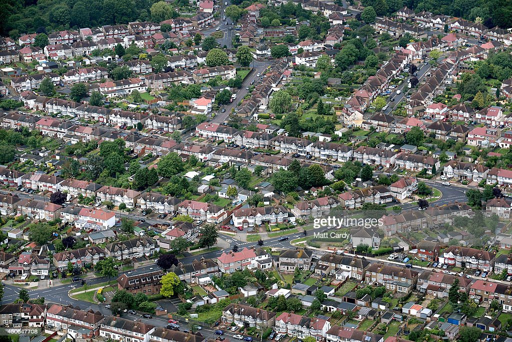 Suburban housing and streets are seen from the air on June 14, 2014 in London, England.