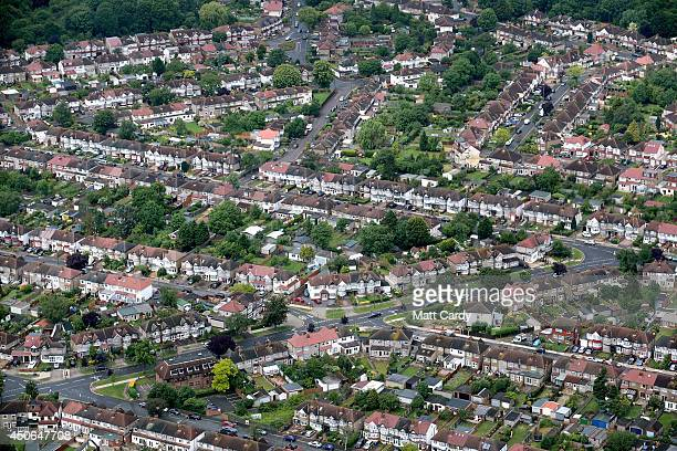Suburban housing and streets are seen from the air on June 14 2014 in London England