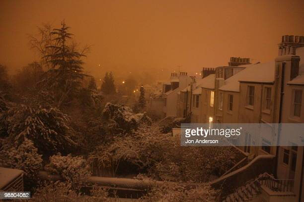suburban night in the snow - brighton england stock pictures, royalty-free photos & images