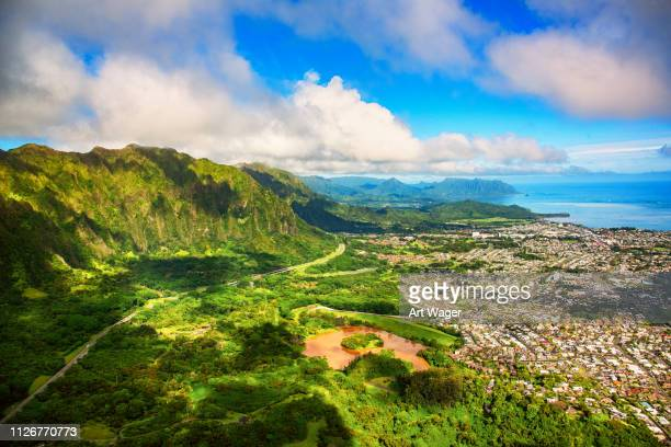 suburban oahu aerial landscape - oahu stock pictures, royalty-free photos & images