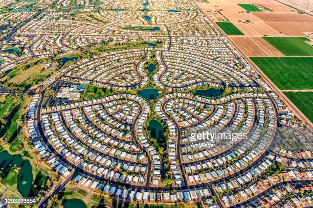suburban phoenix master planned community aerial - urban sprawl stock pictures, royalty-free photos & images