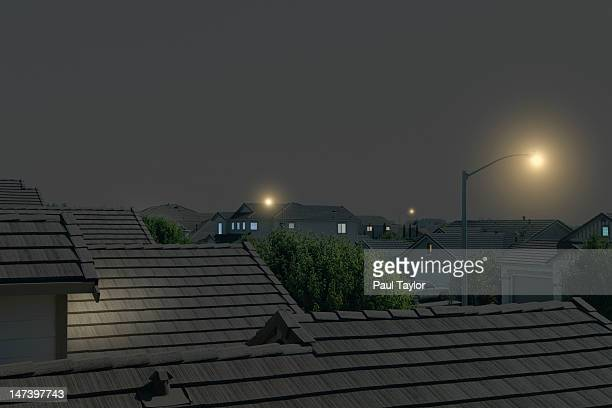 Suburban Rooftops at Night