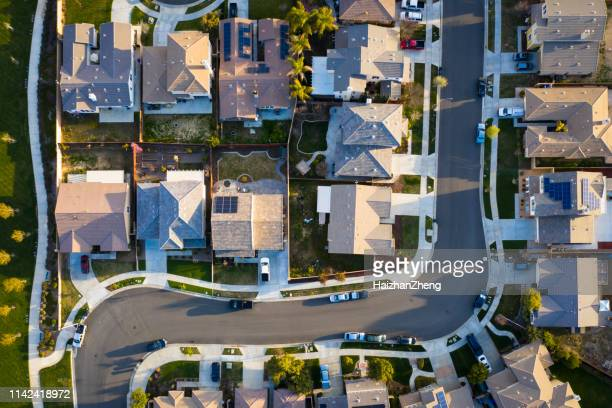 suburban rooftops - drone stock pictures, royalty-free photos & images