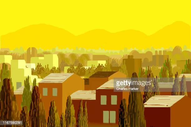 suburban rows of tract houses in california landscape in bright yellow sunlight and brown colors illustration - artistic product stock pictures, royalty-free photos & images