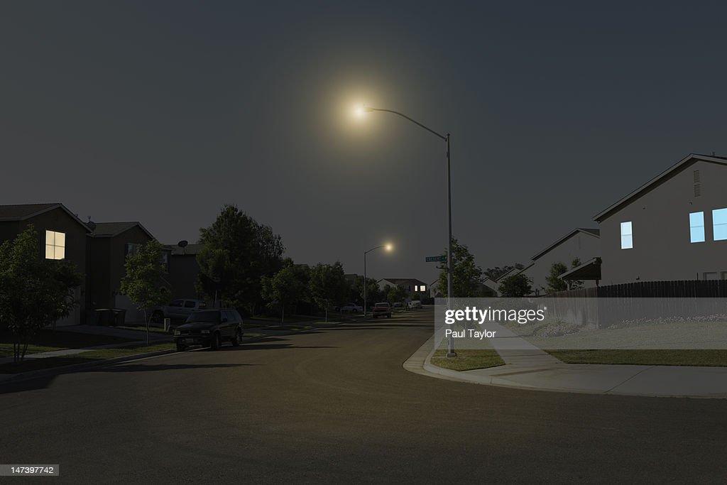 Suburban Street at Night : Stock Photo