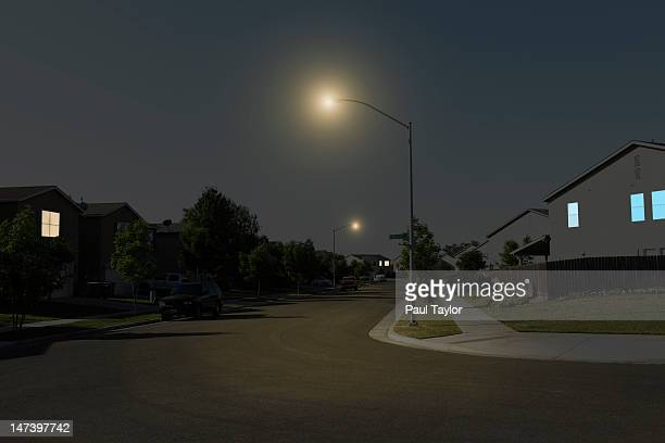 Suburban Street at Night