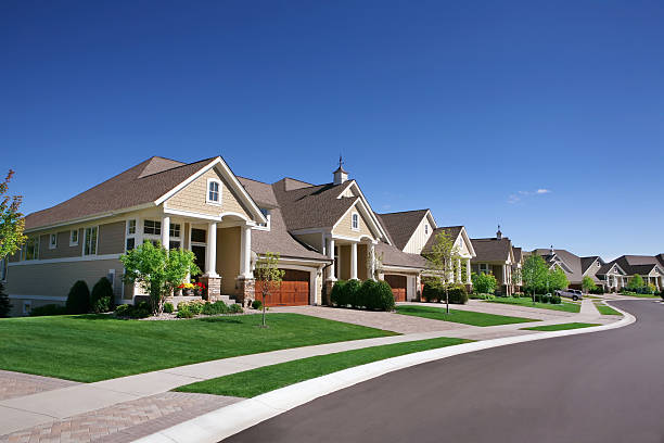 suburban street - house stock pictures, royalty-free photos & images