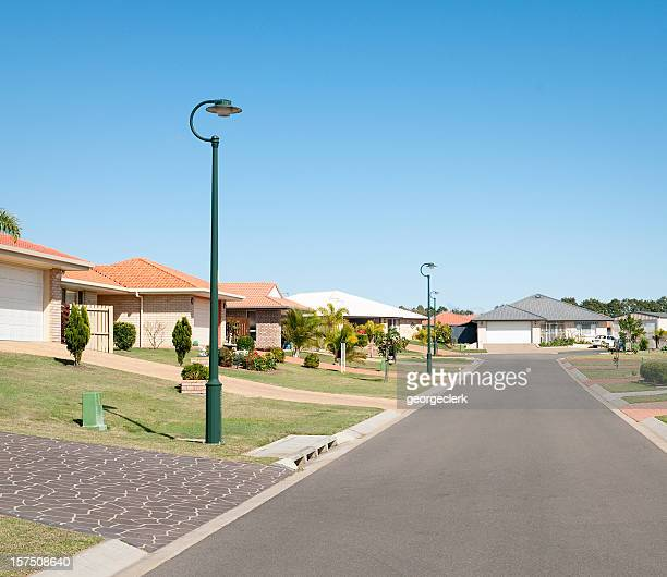 suburban street properties - suburban stock pictures, royalty-free photos & images