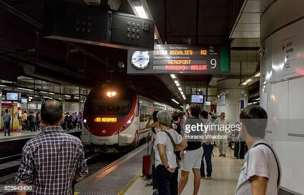 R2 suburban train to El Prat airport in Sants Train Station Barcelona Spain 17 October 2014 Barcelona Sants is the main railway station in Barcelona...