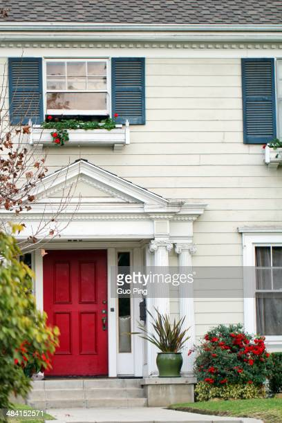 suburban white houses with red door in Los AngelesCalifornia