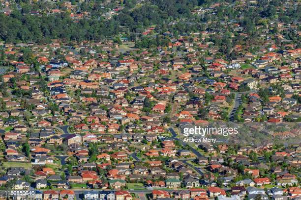 suburbia with colourful houses, suburb, urban sprawl, cityscape, sydney, australia, aerial photography - west direction stock pictures, royalty-free photos & images