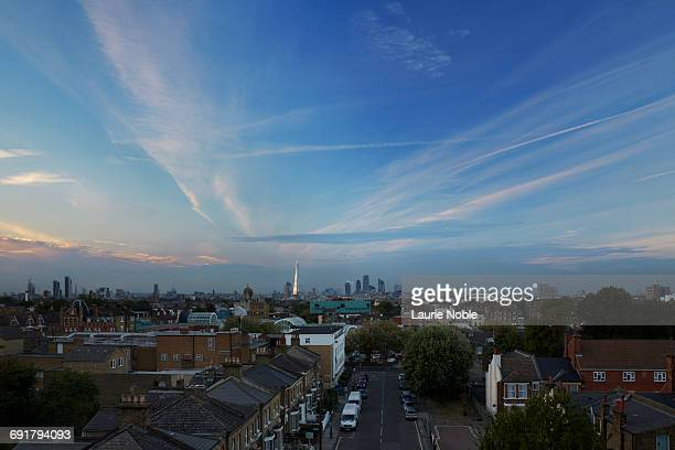 suburbs and london skyline. london, england. - suburban stock pictures, royalty-free photos & images