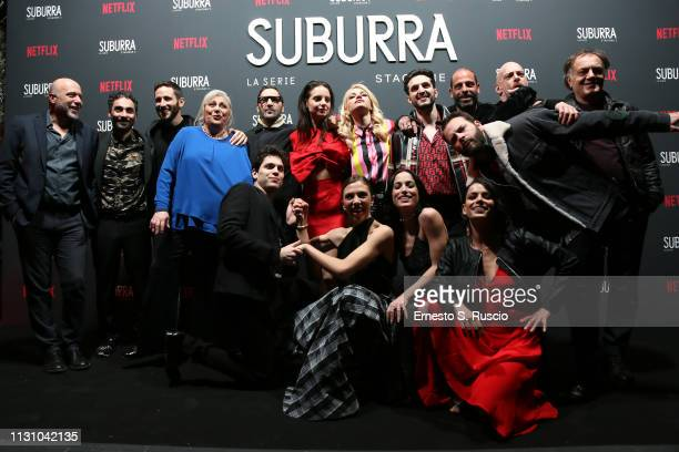 Suburra Cast members attend the after party for Netflix Suburra The Series season 2 launch at Circolo Degli Illuminati on February 20 2019 in Rome...