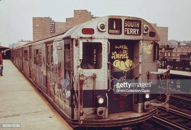 A subway car marked with extensive graffiti New York City New York May 1973 Image courtesy National Archives