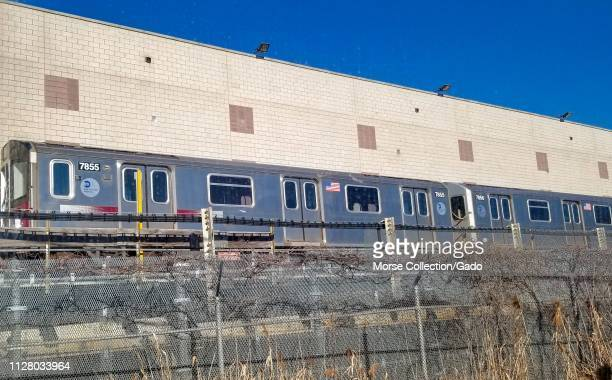 MTA Subway cars at the Corona Maintenance Facility in Willets Point Queens New York City New York February 6 2019