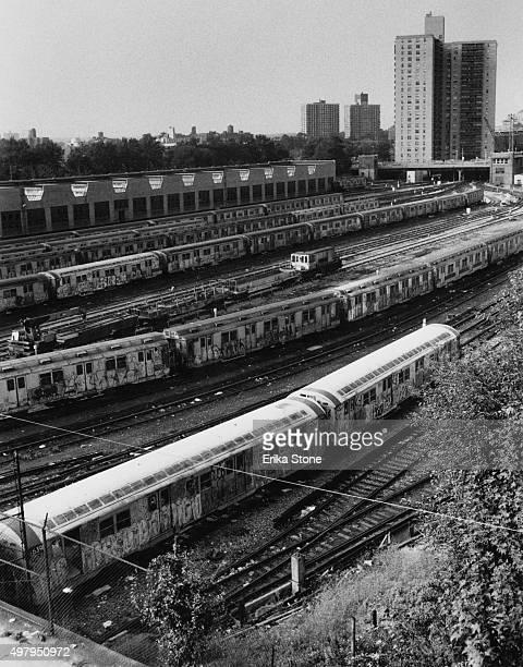 A subway depot in the Bronx New York City circa 1980