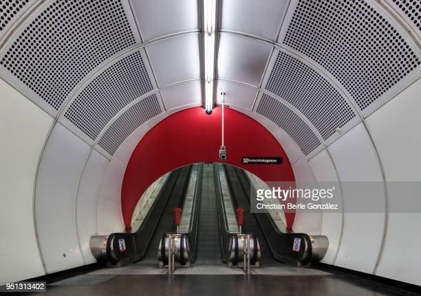 subway exit with concentric circles - christian beirle stockfoto's en -beelden