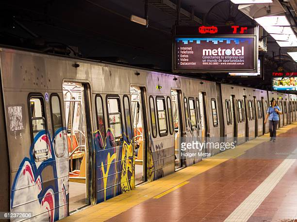subway in buenos aires, argentina - train graffiti stock photos and pictures